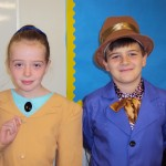 Emily as Miss Trunchball and Oliver as Willy Wonka